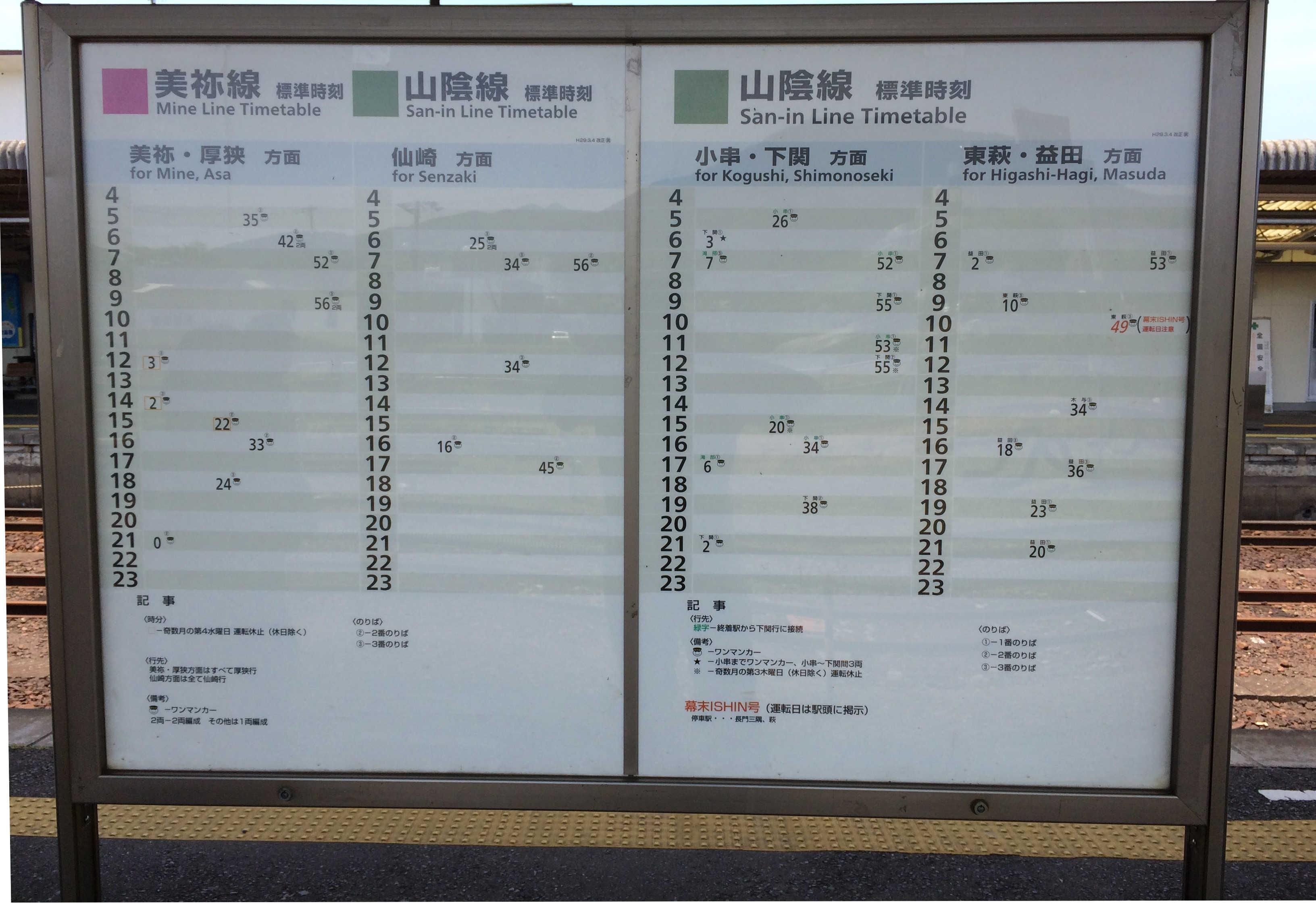 山陰本線JR長門駅時刻表