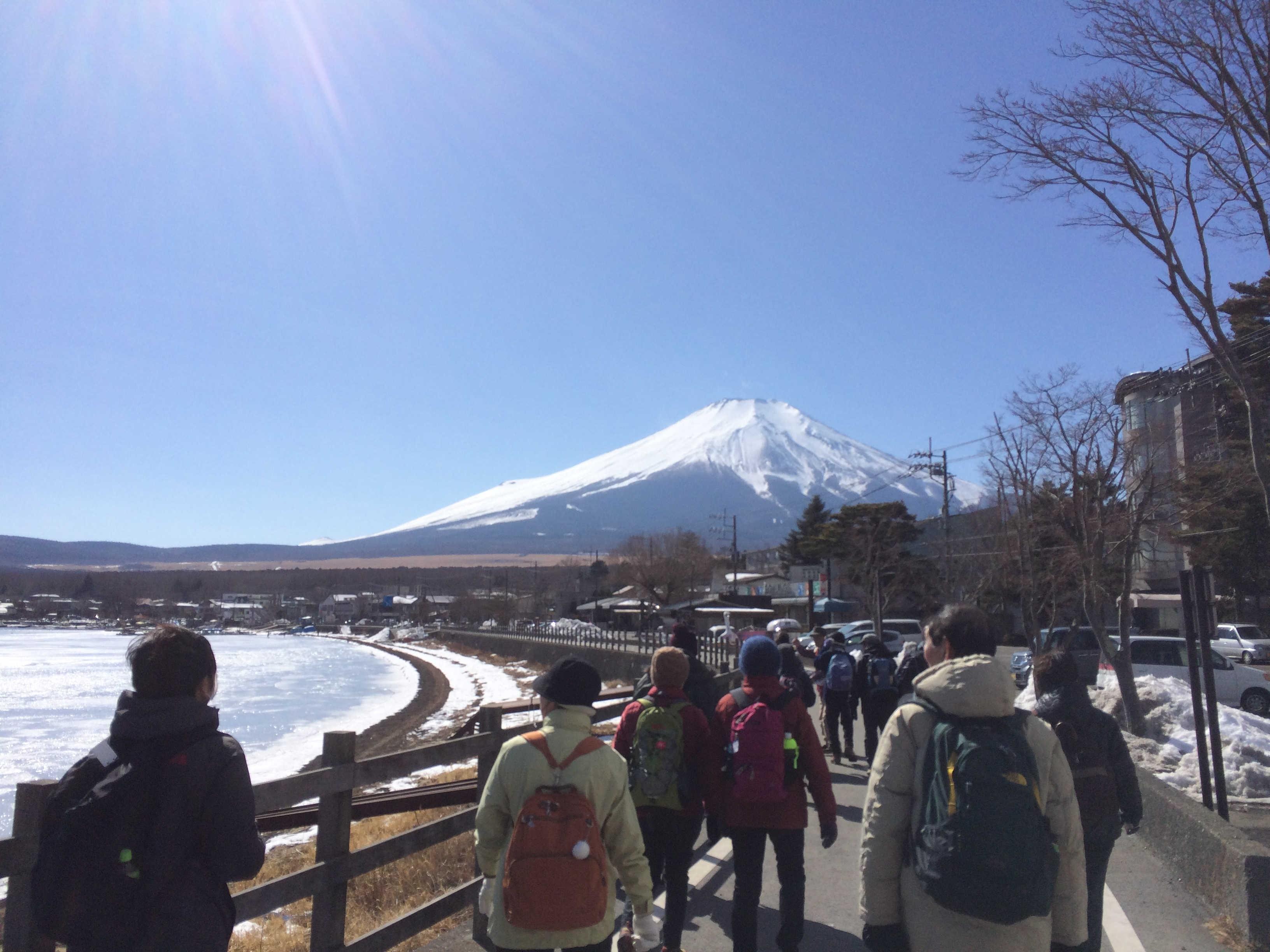 山中湖湖畔から富士山を望む