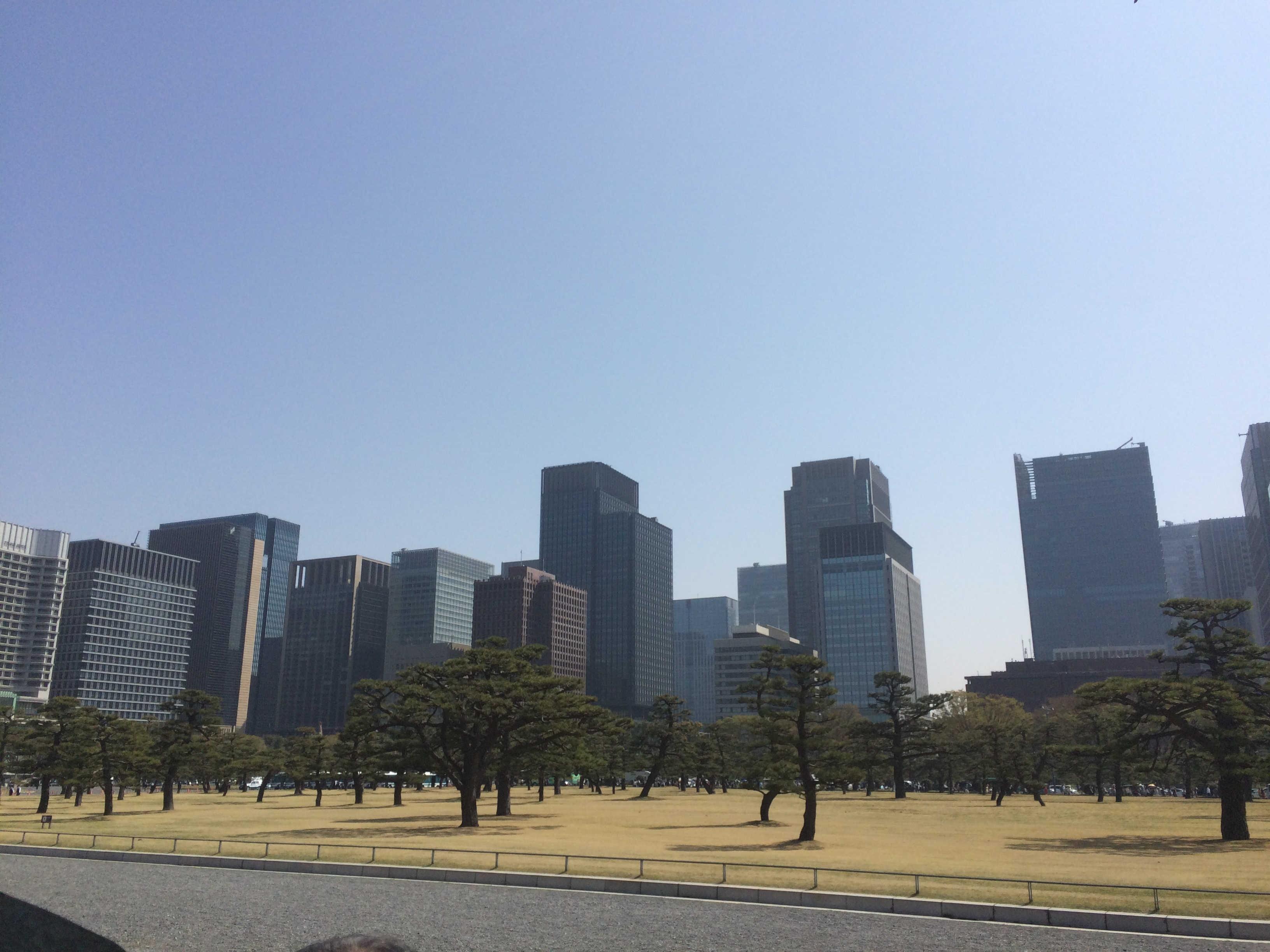 皇居坂下門から大手町の景観