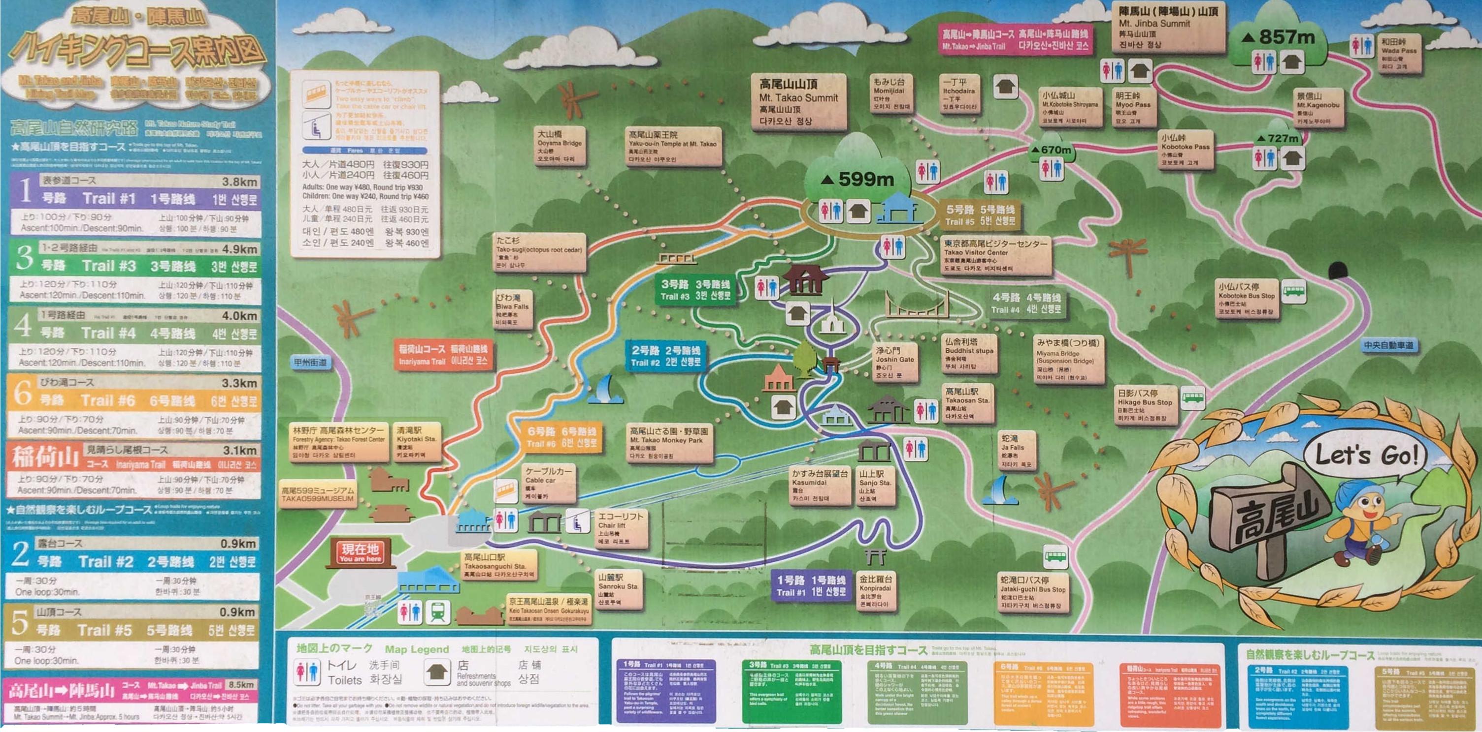 高尾山・陣場山ハイキングコース案内図