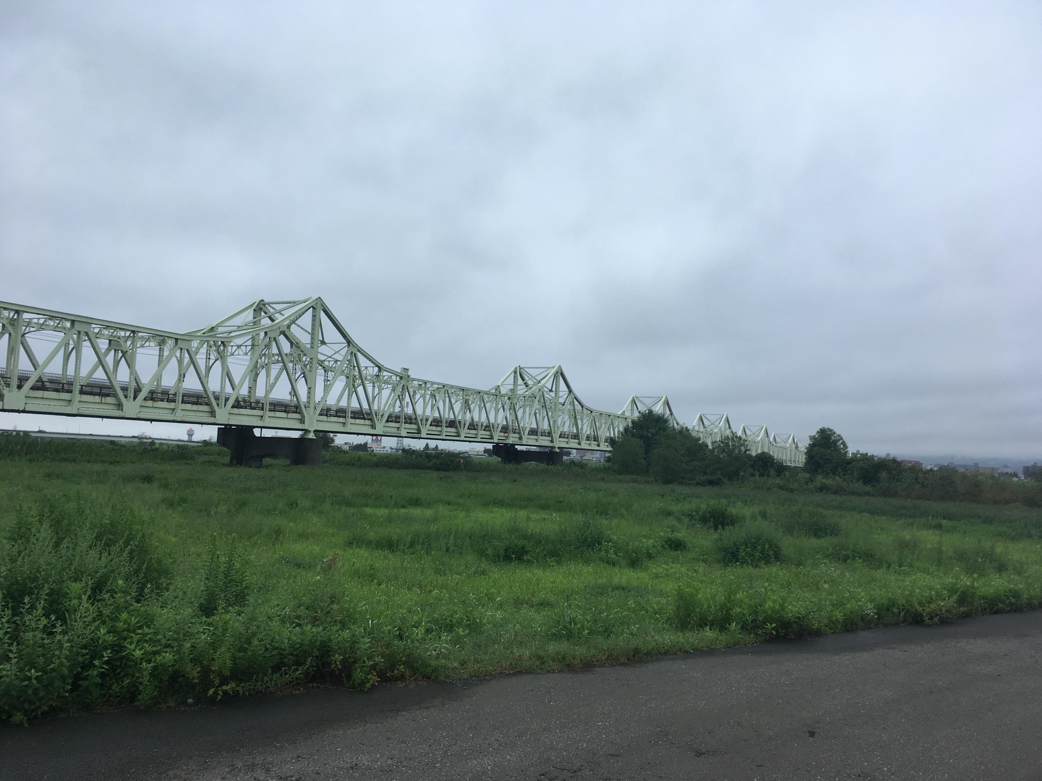 信濃川河川敷から長生橋
