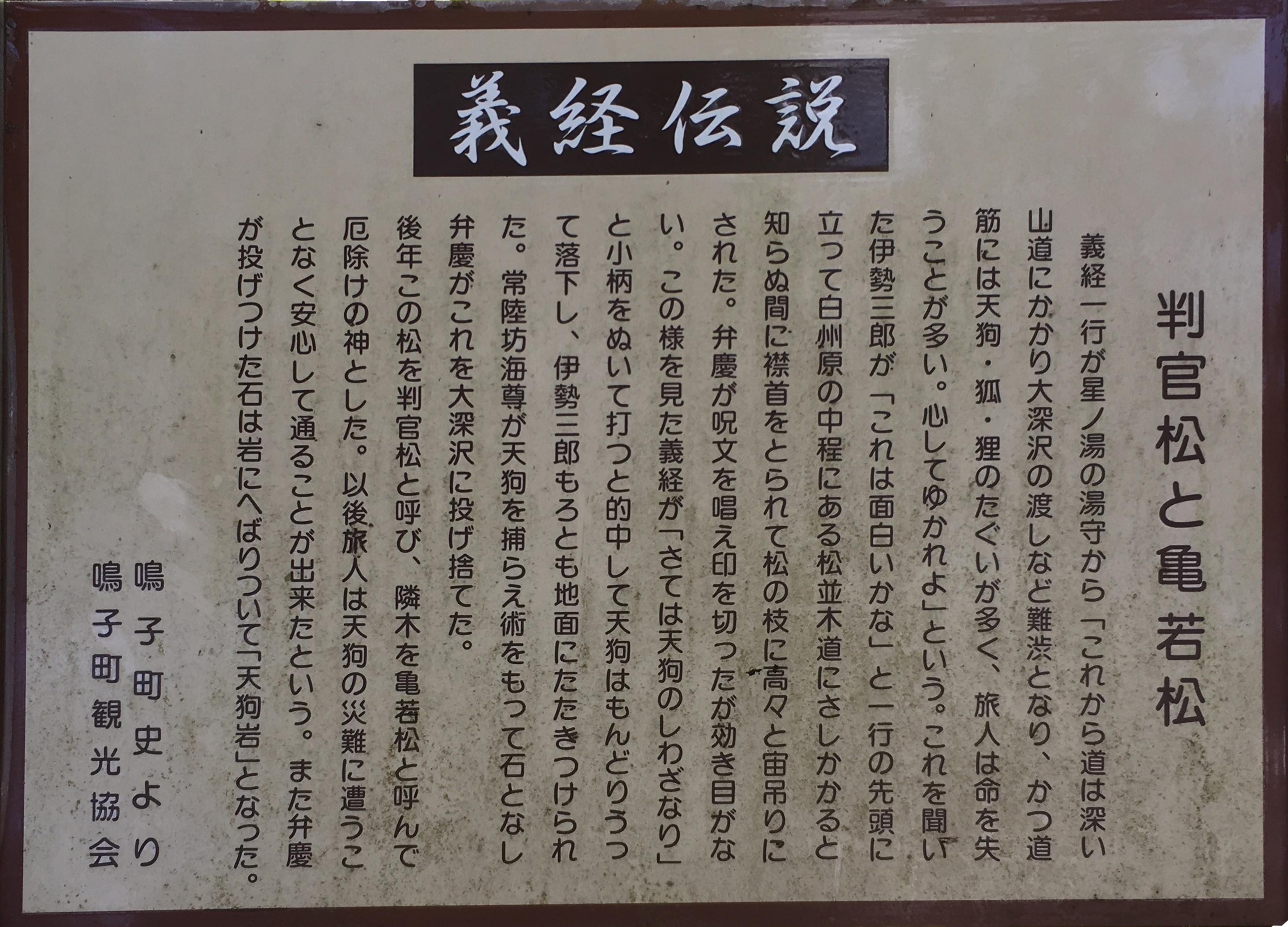 義経伝説判官松と亀若松
