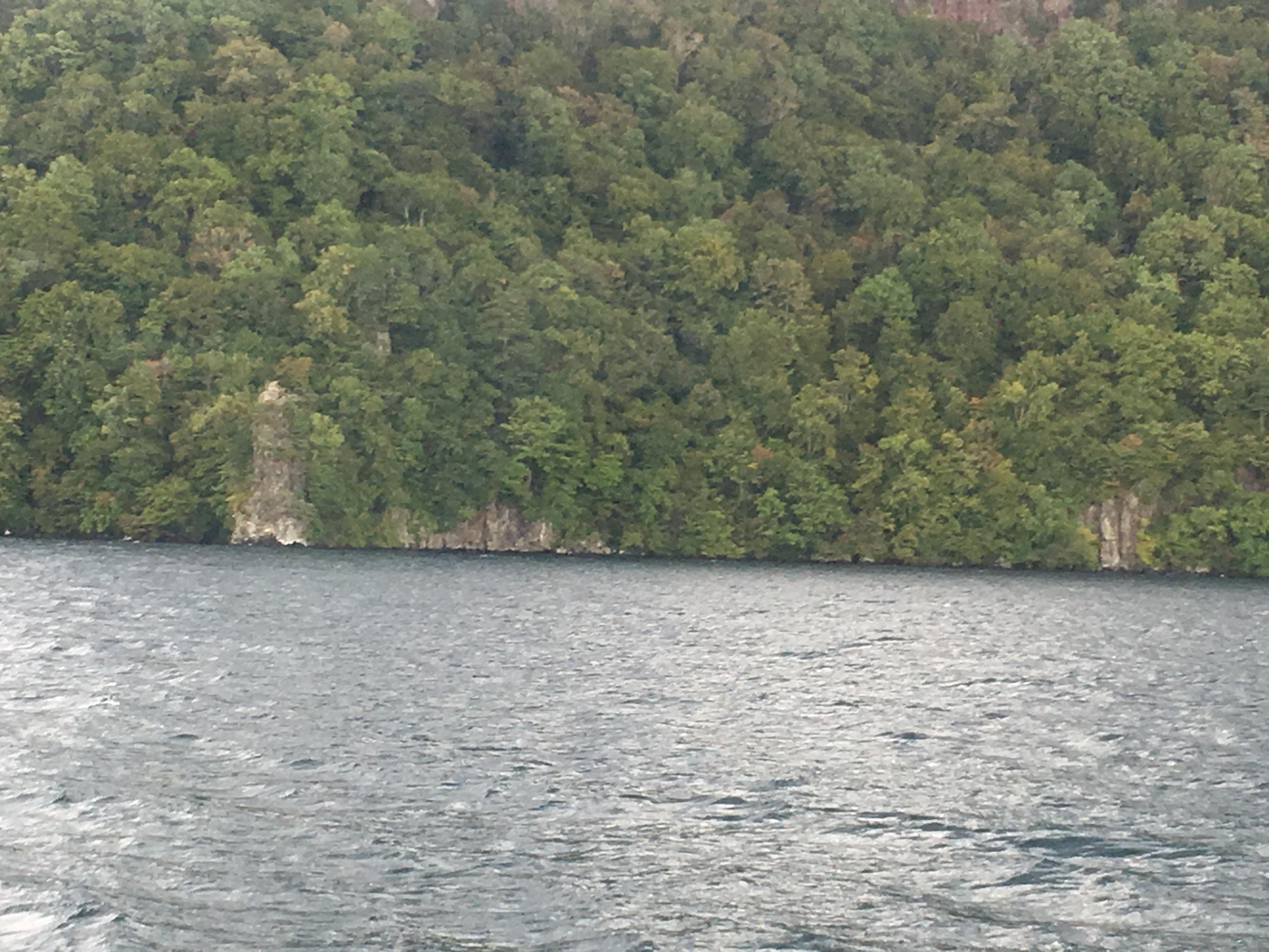 十和田湖遊覧船船首から御倉半島