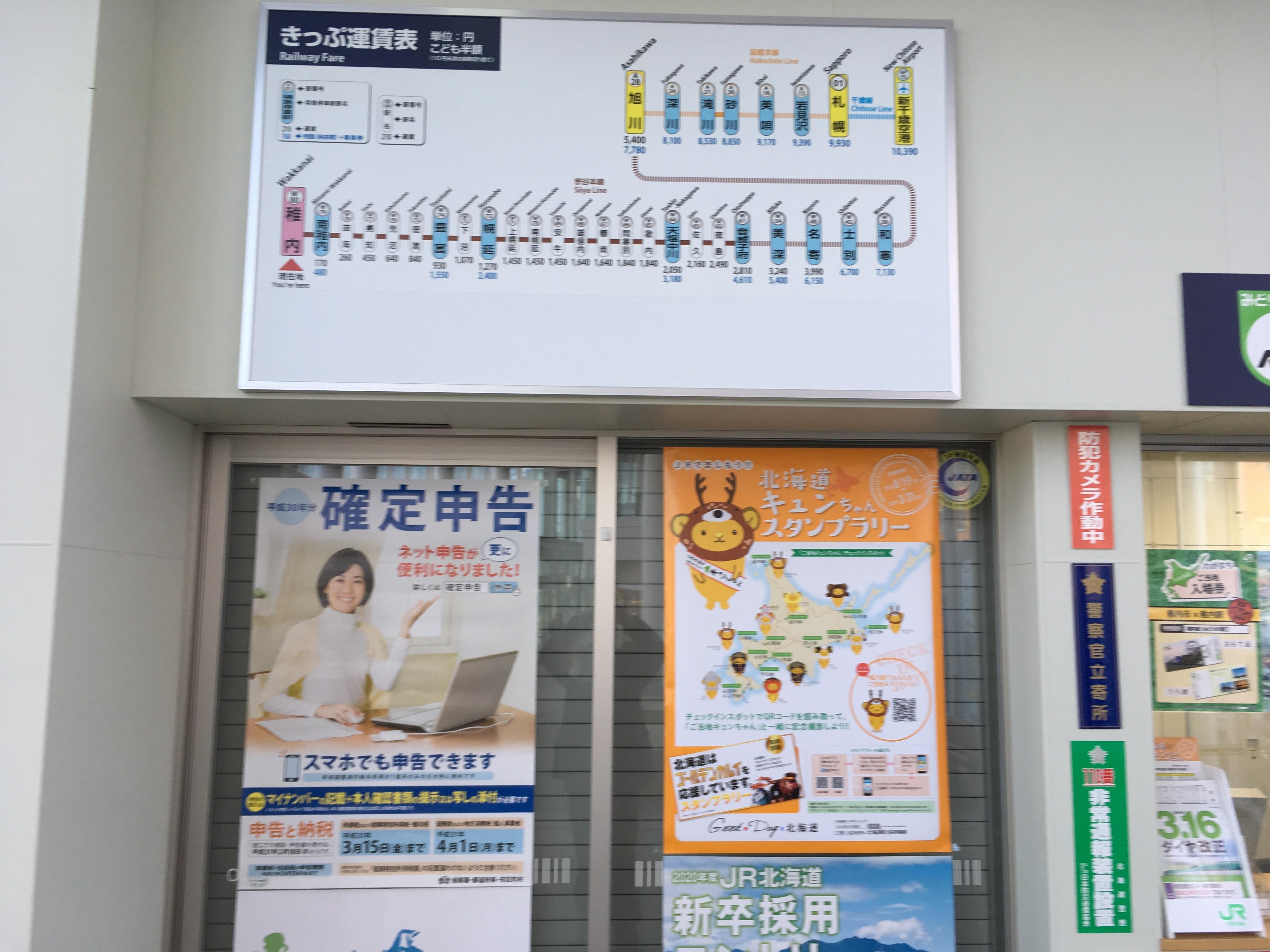 JR稚内駅きっぷ運賃表
