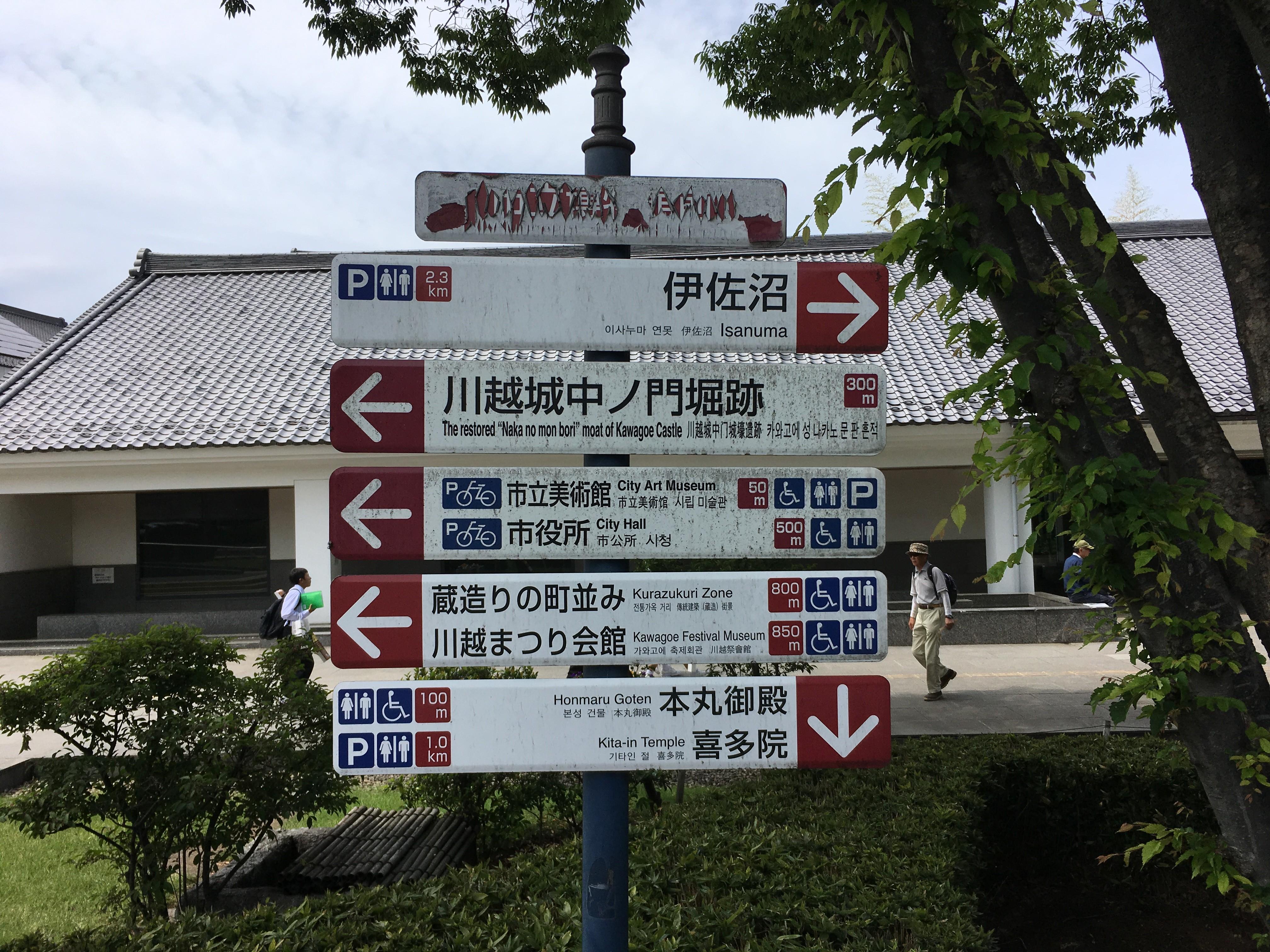 川越市立博物館前の案内板
